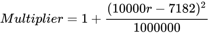 {\displaystyle Multiplier=1+{\frac {(10000r-7182)^{2}}{1000000}}}