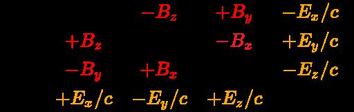 {\displaystyle {\vec {\mathbf {\mathcal {B}}}}={\begin{bmatrix}0&\color {red}{-B_{z}}&\color {red}{+B_{y}}&\color {orange}{-E_{x}/c}\\\color {red}{+B_{z}}&0&\color {Red}{-B_{x}}&\color {orange}{+E_{y}/c}\\\color {red}{-B_{y}}&\color {red}{+B_{x}}&0&\color {orange}{-E_{z}/c}\\\color {orange}{+E_{x}/c}&\color {orange}{-E_{y}/c}&\color {orange}{+E_{z}/c}&0\\\end{bmatrix}}}