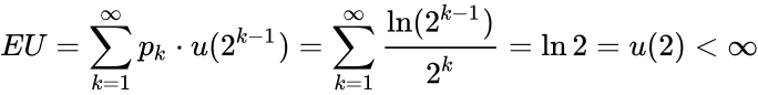 {\displaystyle EU=\sum _{k=1}^{\infty }p_{k}\cdot u(2^{k-1})=\sum _{k=1}^{\infty }{\ln(2^{k-1}) \over {2^{k}}}=\ln 2=u(2)<\infty }