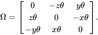 {\displaystyle \Omega ={\begin{bmatrix}0&-z\theta &y\theta \\z\theta &0&-x\theta \\-y\theta &x\theta &0\end{bmatrix}}.}