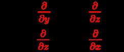 {\displaystyle {\begin{array}{l}J_{x}={\color {red}{\frac {\partial }{\partial y}}}H_{z}-{\color {red}{\frac {\partial }{\partial z}}}H_{y}\\J_{y}={\color {red}{\frac {\partial }{\partial z}}}H_{x}-{\color {red}{\frac {\partial }{\partial x}}}H_{z}\\\end{array}}}