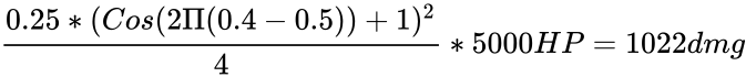 {\displaystyle {\frac {0.25*(Cos(2\Pi (0.4-0.5))+1)^{2}}{4}}*5000HP=1022dmg}