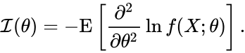 {\displaystyle {\mathcal {I}}(\theta )=-\mathrm {E} \left[{\frac {\partial ^{2}}{\partial \theta ^{2}}}\ln f(X;\theta )\right].}