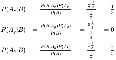 {\displaystyle {\begin{matrix}P(A_{r} B)&={\frac {P(B A_{r})P(A_{r})}{P(B)}}&={\frac {{\frac {1}{2}}{\frac {1}{3}}}{\frac {1}{2}}}&={\frac {1}{3}}\\P(A_{g} B)&={\frac {P(B A_{g})P(A_{g})}{P(B)}}&={\frac {0{\frac {1}{3}}}{\frac {1}{2}}}&=0\\P(A_{b} B)&={\frac {P(B A_{b})P(A_{b})}{P(B)}}&={\frac {1{\frac {1}{3}}}{\frac {1}{2}}}&={\frac {2}{3}}\end{matrix}}}